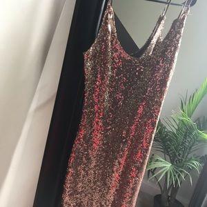 Mini Gold Sequin Dress